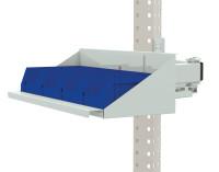 Sichtboxen-Regal-Halter-Element für MULTIPLAN Arbeitstische Lichtgrau RAL 7035