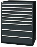 Schubfachschrank MAXTEC stationär, 6 x 100 , 3 x 200 mm Vollauszug 100%, 180 kg / Enzianblau RAL 5010