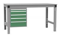 Schubfach-Unterbauten MULTIPLAN, stationär, 1x50, 3x100, 1x150 mm Resedagrün RAL 6011 / 1000