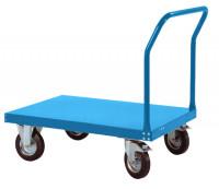 Schwerer Plattformwagen TRANSOMOBIL mit Bügel ohne Stirnwand Brillantblau RAL 5007 / 1200 x 800