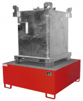 Auffangwannen für Tankcontainer und Fässer Feuerrot RAL 3000 / 1460