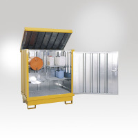 Gefahrstoff Depot, mit 4 Regalstützen, 2 Gitterroste, 2 Fassauflagen Grauweiß RAL 9002