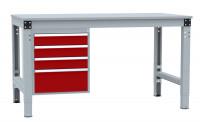 Schubfach-Unterbauten MULTIPLAN, stationär, 3x100, 1x200 mm Rubinrot RAL 3003 / 800