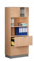 Modufix Kombi-Grund-Büroschrank Türen + Hängeregistratur mit 4 Fachböden, HxBxT 2225 x 820 x 420 mm Lichtgrau / Lichtgrau