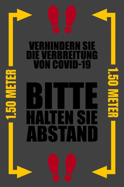 """Waschbare COVID-19 Schmutzfangmatte """"Bitte halten Sie Abstand"""", 115 x 180 cm"""