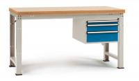 Komplett-Angebot Werkbank PROFI Modell 3, Platte Multiplex geölt 40 mm 1500 / Lichtgrau RAL 7035