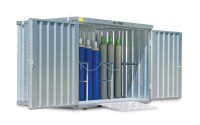 Gasflaschencontainer 2-flügelig, BxTxH 3050 x 2170 x 2250 mm Lichtgrau RAL 7035 / mit Gitterrostboden