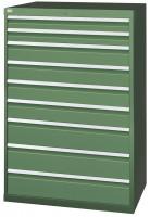 Schubfachschrank MAXTEC stationär, 2 x 100 , 4 x 150 , 3 x 200 mm Vollauszug 100%, 180 kg / Enzianblau RAL 5010