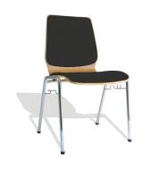 4-Fuß-Stapelstuhl inkl. Reihenverbinder bis 9 Stück / Stoffpolster