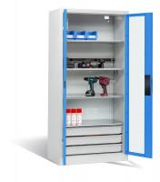 Akkuladeschrank mit Sichtfenstertüren, 3 Elektro-Einlegeböden und 1 Schubladenblock Lichtgrau / Lichtgrau