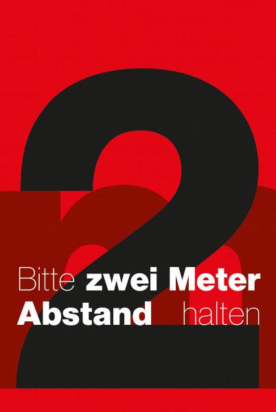"""Schmutzfangmatte """"Bitte 2 m Abstand halten"""" mit rotem Hintergrund, Hochformat"""