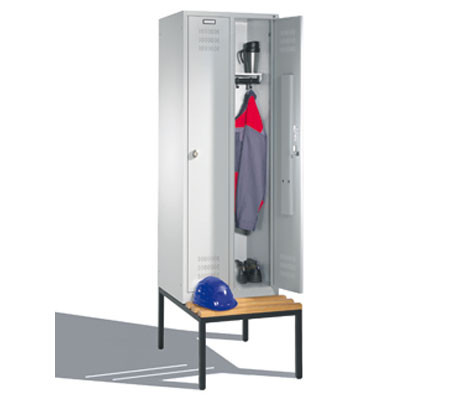 Komfort-Garderobenschrank mit Sitzbank, Breite 610 mm