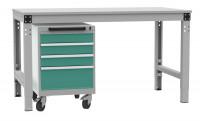 Schubfachschrank BASETEC mobil, 3x 100, 1x 200 mm Graugrün HF 0001 / Graugrün HF 0001