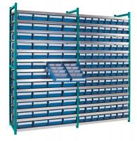 Steck-Grundregal mit Regalkästen - geschlossen Wasserblau RAL 5021 / 64xGr.7 / 16xGr.8