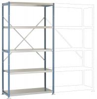 Schwere Stahlfachboden Grundregale PLANAFIX Premium, Höhe 2000 mm, einseitige Nutzung 500 / Graugrün HF 0001