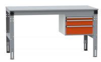 Schubfach-Unterbauten MULTIPLAN, mobil, 1x50, 1x100, 1x150 mm Rotorange RAL 2001 / 800