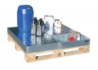 Kleingebindewanne passend für Euro- und Chemiepaletten 1200 x 800 x 100 / Mit Lochblechrost