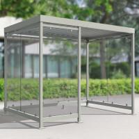 Modulares Überdachungssystem, Eingang 2/3 rechte Frontseite, H x B x T 2510 x 3180 x 2165 mm Enzianblau RAL 5010