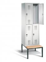 C+P Doppelstock-Garderobenschrank EVOLO mit unterbauter Sitzbank, Abteilbreite 300 mm, 4 Fächer Lichtgrau RAL 7035 / Lichtgrau RAL 7035