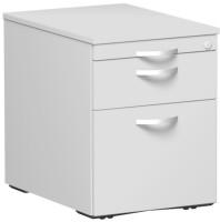 Rollcontainer mit Schublade aus Stahl, HxBxT 566 x 430 x 600 mm 1 Utensilienschub, 1 Schubfach, 1 Hängeregister / Lichtgrau