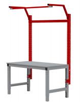 MULTIPLAN Stahl-Aufbauportale mit Ausleger, Grundeinheit Rubinrot RAL 3003 / 2000
