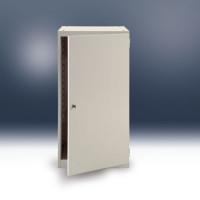 Werkbanksystem COMBI Leergehäuse mit Tür Brillantblau RAL 5007 / links