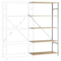 Leichte Fachboden Anbauregale PLANAFIX Standard mit Holzböden, einseitige Nutzung 500 / 2000