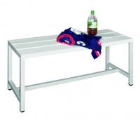 Sitzbank mit Kunststoffleisten und Schuhrost Lichtgrau RAL 7035 / 1000