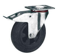 Lenkrolle mit Doppelstopp auf Vollgummi-Bereifung 160 / Kunststoff