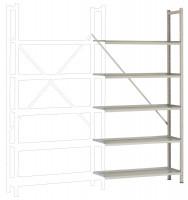 REGISTRA Archiv Premium Plus grau/verzinkt, Einfach-Anbauregal 1900 / Beidseitig (Längsverbinder)