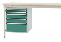 Schubfach-Unterbauten BASIS, stationär, 2 x 50 , 2 x 100 , 1 x 200 mm Graugrün HF 0001
