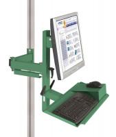 Ergo-Monitorträger mit Tastatur- und Mausfläche Resedagrün RAL 6011 / 100
