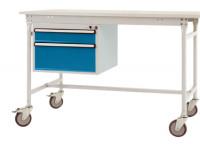 Schubfach-Unterbauten BASIS, mobil, 1 x 100 , 1 x 200 mm Lichtgrau RAL 7035