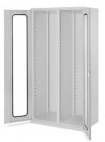 Schwerlast-Werkzeugschränke mit Mitteltrennwand, Höhe 1950 mm, mit Sichtfenstertüren zur Selbstbestückung / Lichtgrau RAL 7035