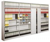 Bürosteck-Grundregal Flex, zur einseitigen Nutzung, Höhe 2600 mm, 7 Ordnerhöhen 990 / 300
