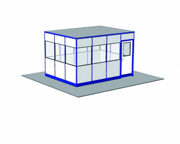 Hallenbüro ohne Boden, 4-seitige Ausführung