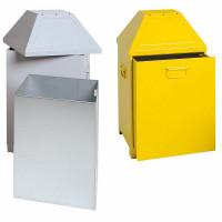Sammelbehälter mit zwei Einwurfklappen Weißalu RAL 9006 / 80