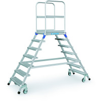 Podesttreppen fahrbar, zweiseitig begehbar Stahl-Gitterrost-Stufen / 7