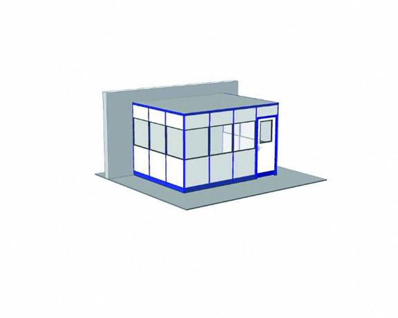 Hallenbüro ohne Boden, 3-seitige Ausführung