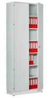 Modufix Anbau-Flügeltüren-Büroschrank mit 6 Fachböden HxBxT 2575 x 600 x 420 mm Lichtgrau / Lichtgrau