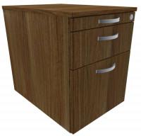 Rollcontainer mit Schublade aus Stahl, HxBxT 566 x 430 x 600 mm Nussbaum / 1 Utensilienschub, 1 Schubfach, 1 Hängeregister