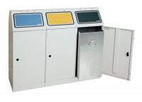 Robuster Abfallsammler, 3-fach mit Inneneinsatz