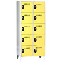 Schließfachschrank - Serie 90, 2x5 Fächer, HxBxT 1850 x 800 x 500 mm, Abteilbreite 400 mm Lichtgrau RAL 7035