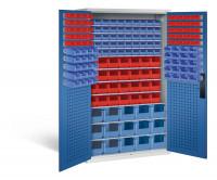 Großraumschrank mit 68 roten und 105 blauen Sichtlagerkästen, HxBxT 1950 x 1100 x 535 mm Lichtgrau RAL 7035 / Enzianblau RAL 5010