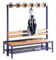 C+P Doppelseitige Sitzbank mit Garderobe und unterbautem Schuhrost Hartholzleisten / 1500