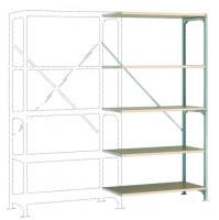 Mittelschwere Fachboden Anbauregale PLANAFIX Standard mit Holzböden, einseitige Nutzung 500 / 2000