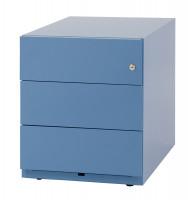 Rollcontainer mit Griffleiste und 3 Schubfächern Blau