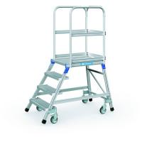 Podesttreppen fahrbar, einseitig begehbar Stahl-Gitterrost-Stufen / 4