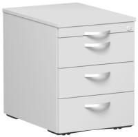 Rollcontainer mit Schublade aus Stahl, HxBxT 566 x 430 x 600 mm 1 Utensilienschub, 3 Schubfächer / Lichtgrau