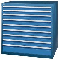 Schubfachschrank MAXTEC stationär, 2 x 75 , 6 x 100 , 1 x 150 mm Enzianblau RAL 5010 / Vollauszug 100%, 180 kg